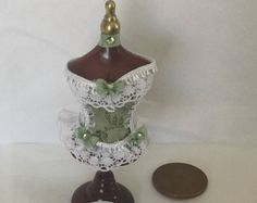 Handmade 1:12th Scale DollHouse Miniature Ladies Victorian style Lace Corset on shop display dummy