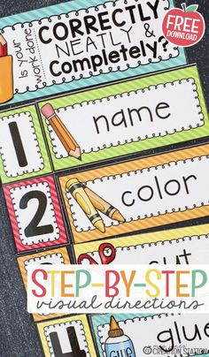 Free printable step-by-step visual directions you can post in front of your class! These step-by-step directions help your students learn to stay on their task and complete it! These visuals will remind them to check their papers to see if they did everything they were supposed to do. This will save you from having to explain the directions over and over! #classroom #classroommanagement #visuals #visualdirections #freeprintable Beginning Of Kindergarten, Teaching First Grade, First Grade Classroom, Beginning Of School, Kindergarten Classroom, Future Classroom, School Classroom, Student Learning, Classroom Setup