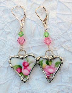 Broken China Jewelry China Earrings Royal by Robinsnestcreation1, $34.95