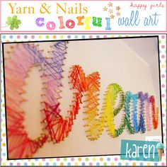 Yarn & Nails... colorful wall art! <3, created by everygirlhasatip on Polyvore