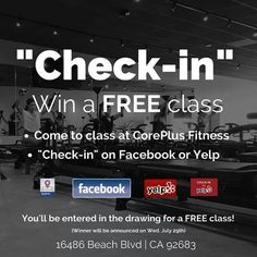 """Here's your chance to win a FREE class! It's as easy as """"check-in""""and you're entered to win. #coreplusfitness  #orangecounty #oclife #oc #lagree #lagreefitness #fit #weekendworkout #gymlife #winner #freeclass #fitfam #fitnessjourney #fitnesslife #facebook #yelp #gymlife"""