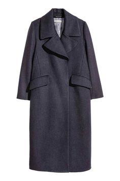 Cappotto in misto lana - Blu scuro - DONNA   H&M IT