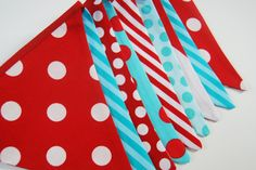 DR SEUSS 1st Birthday Decorations, Baby Boy Shower Party Fabric Flags - Red, Aqua, Turquoise, Teal, White Bunting Banner -- Cloth Pennant