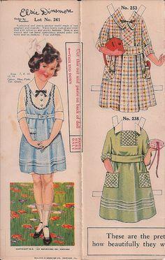 Elsie Dinsmore Paper Doll #261 advertises dresses from The Dandyline Co. Chicago 1919. Image via Pennelanier