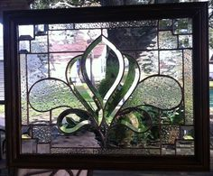 """STAINED GLASS PANEL WINDOW ART BEVELS & CHAMPAGNE 22"""" x 17.5 TIFFANY STY FRAMED"""
