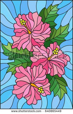 Illustration in stained glass style with flowers and leaves of hibiscus on a blue background Glass Painting Patterns, Glass Painting Designs, Stained Glass Patterns, Paint Designs, Fabric Painting, Stained Glass Quilt, Stained Glass Panels, Mosaic Art, Mosaic Glass