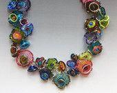 Garden collier des Octopus : verre à la main bijoux en perles avec composants en argent sterling - Multicolor