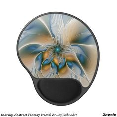 Soaring, Abstract Fantasy Fractal Art With Blue Gel Mouse Pad