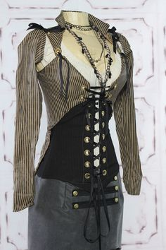 Black and Tan Mini Stripe Steampunk Jacket by Damsel in this Dress