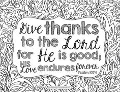 give thanks to the lord bible verse coloring page - Bible Pictures For Colouring