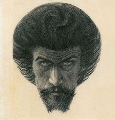 Karel Hlaváček (1874 Praha-†1898 Praha-Libeň), Významný český dekadent a představitel českého symbolismu. Auto Portrait.