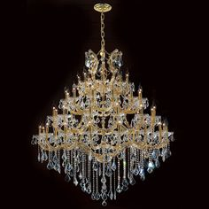 """Worldwide Lighting Corp Maria Theresa 49 Light Gold Finish With Clear Crystals Chandelier- 46"""" w x 58""""h- Great room"""