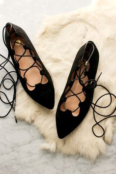 Pirouette Lace Up Flats - Black - Glamour and Glow  - 1