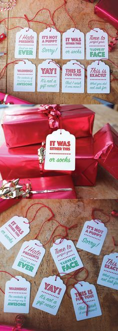 Alternative, funny Christmas Gift Tags. Send a touch of reality with your Christmas gifts this year with a pack of these say-it-like-it-is Christmas Gift Tags. #christmas #festive #christmasgifts  #affiliatelink #christmaspresent #giftideas #gifttags #christmasdecorations