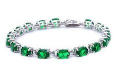 """Elegant Oval Bracelet 12.5CT Oval Shape Emerald Green Bracelet 925 Sterling Silver 7"""" Oval Cut Bracelet Wedding Engagement May Gift"""