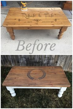This Farmhouse Coffee Table was done by Rehab to Fab in Milk Paint. Top is stained in gel stain. Monogramming in Furniture Projects, Furniture Makeover, Sofa Tables, Milk Paint, Game Room, Painted Furniture, Repurposed, Diy And Crafts, Farmhouse