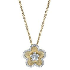 Textured Flower Diamond Pendant 14k Two Tone Gold, Brushed Finish, Anniversary Jewelry Gifts, Raven Fine Jewelers