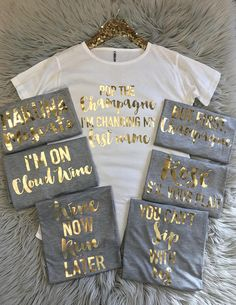 Bachelorette Party Shirts / Bachelorette Party / Bridemaid Shirts for Wine Lover - Bachelorette group shirts - Bachelorette Shirts - Bridesmaid Gifts Shirts - Party Shirts - Bride Shirt - Bridal Party - Bridal Shower Bachelorette Wine Lovers T-shirt with sayings in gold foil. These Bridal