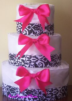 Damask and Pink Diaper Cake for Girls by FromDiapers2Divas on Etsy, $39.00