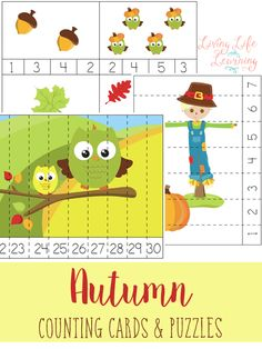 Practice counting with these autumn counting cards and puzzles - great for preschoolers