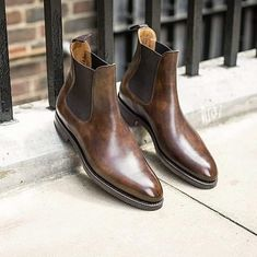 Best Handmade Men's Brown Chelsea Leather Boots Dress Formal Dress Boots For Men sold by Leather Art Shop more products from Leather Art 2020 on Storenvy, the home of independent small businesses all over the world. Suede Leather Shoes, Leather Chelsea Boots, Men's Leather, Derby, Men's Shoes, Shoe Boots, Formal Shoes, Dress Formal, High Ankle Boots