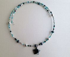 Black crystal star memory wire necklace by ZinnyPoPJewelry on Etsy