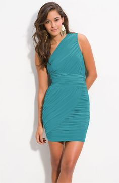 Soprano Ruched One Shoulder Dress (Juniors) available at #Nordstrom - rehearsal dinner?