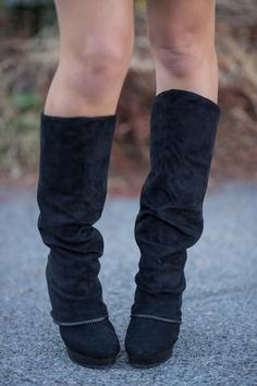 Living On the Wedge Zipper Detailed Wedged Boots (Black) - NanaMacs.com - 1