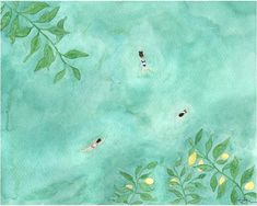 Swimming Hole in Citrus Grove, watercolor painting, art print, boho chic, wall art