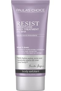 "Paula's Choice RESIST Weightless Body Treatment with 2% BHA. ""Effective for: Acne Breakouts, Anti-Aging, Keratosis Pilaris, Redness."" $22.95 for 7 oz. #crueltyfree #leapingbunny"