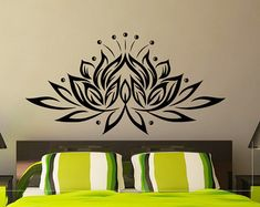 Lotus Wall Decal Yoga Wall Decal Lotus Flower Yoga by WisdomDecals