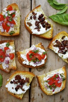 Easy Broiled Toast with Goat Cheese, Olives, Tomato & Basil (and we prefer to use raw vegan cheese whenever possible)