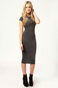 $14, Charcoal Bodycon Dress: Boohoo Cara Cap Sleeve Jersey Bodycon Midi Dress. Sold by BooHoo. Click for more info: http://lookastic.com/women/shop_items/23727/redirect