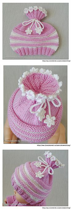 This Pin was discovered by nur - Bere Baby Hat Knitting Pattern, Knitting Machine Patterns, Baby Hat Patterns, Baby Hats Knitting, Loom Knitting, Knitted Hats, Childrens Crochet Hats, Crochet Waffle Stitch, Crochet Christmas Hats