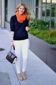 Whit adds a pop of orange to this nautical inspired winter look