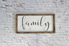 Family Wood Sign. Rustic Signs. Gallery Wall Decor. Farmhouse Decor. Wooden Signs. Rustic Decor. Wood Art. Gift under 50. Wedding Gift by WilliamRaeDesigns on Etsy https://www.etsy.com/listing/272302634/family-wood-sign-rustic-signs-gallery