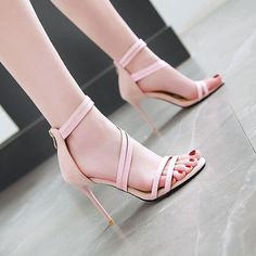 Lsewilly New Fashion Large Size Buckle Strap Shoes Woman Sandals Thin Heels Peep Toe Summer Zipper Sandals Female Outfit Accessories From Touchy Style Aqua Heels, Stiletto Heels, Shoes Heels, T Strap Shoes, Flat Shoes, Dress Shoes, Zoom Iphone, Girls Heels, High Heels For Girls