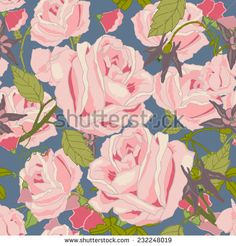Vintage rose summer garden bouquet flowers and blossoms seamless pattern vector illustration