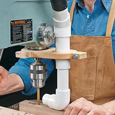 Drill Press Dust Collection: Managing chips and sawdust when using the drill press is always a challenge. The problem is where to locate the vacuum hose for maximum effectiveness. The solution I came up with is the attachment you see here.