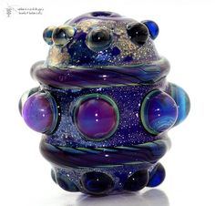 Glass lampwork bead  MIDNIGHT JEWEL  Barrel by radiantmind on Etsy, $19.00