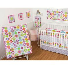 Sumersault Circle Dots 9-Piece Nursery in a Bag Crib Bedding Set with BONUS Bumper