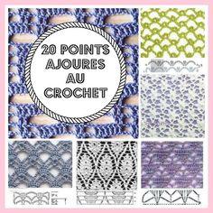 20 points ajourГ©s au crochet Filet Crochet, Plaid Crochet, Crochet 101, Crochet Lace Edging, Beginner Crochet Tutorial, Crochet Books, Crochet For Beginners, Crochet Flowers, Crochet Stitches Patterns