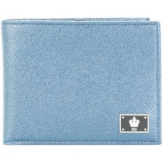 Dolce & Gabbana crown logo plaque billfold wallet ($345) ❤ liked on Polyvore featuring men's fashion, men's bags, men's wallets and blue