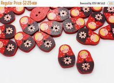 10 Red Russian Dolls Wood Button Children by boysenberryaccessory