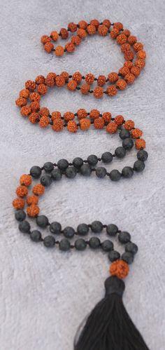 Rudraksha and Lava Beads Meditation Mala