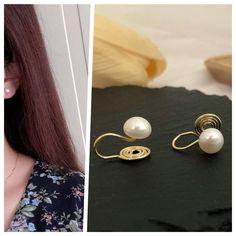 Bridal Earrings, Clip On Earrings, Stud Earrings, Cushion Pads, Pearl White, Ear Piercings, Elegant Wedding, Fresh Water, Spiral