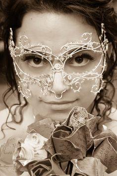Silver vine masquerade mask handmade by gringrimaceandsqueak, £120.00