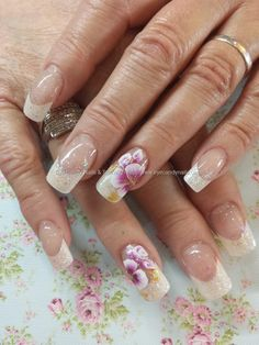 White french with one stroke flower nail art