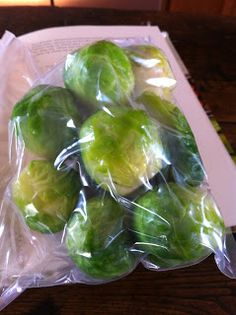 Brussels Sprouts- blanch for 4 min. plunge into cold water to cool.