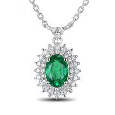 DENISE Pendentif or blanc Emeraude Diamant